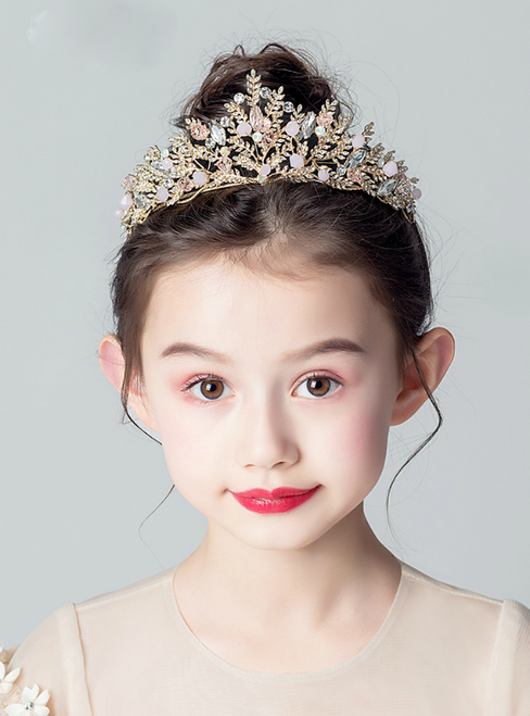 Princess Girl Crown Rhinestone Gold Accessories