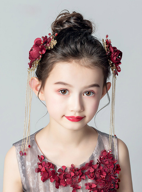 Burgundy Hand Flower 1 Set Girl Princess Hairpin