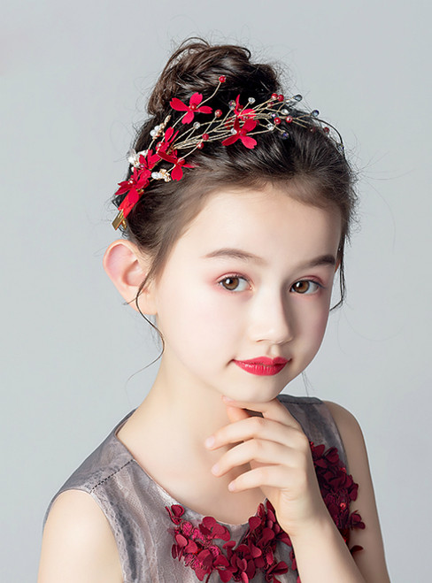 Fashion Girls Hair Accessories Red Hairpin Beading