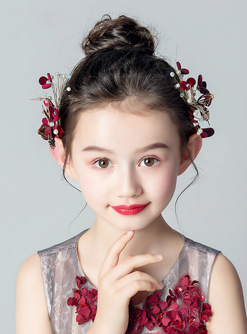 Red 2 Piece Butterfly Flower Girl's Accessories