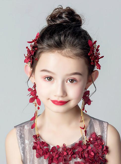 Red Hair Accessories Earrings Set Flower Wreath