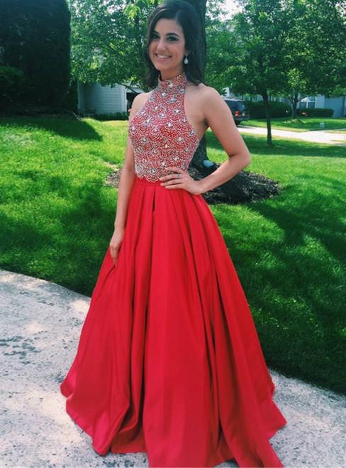 Red Long Satin Evening Dress Featuring Rhinestone Beaded Bodice With Halter Neckline