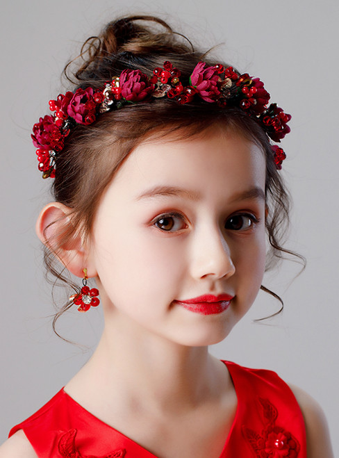 Girls Headdress Princess Hair Girl Red Flower Wreath