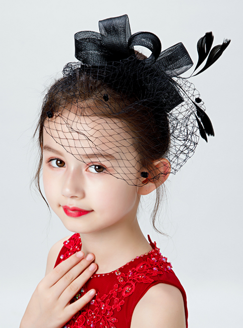 Girls Lace Gauze Amall Hat Black Veil Hair Accessories