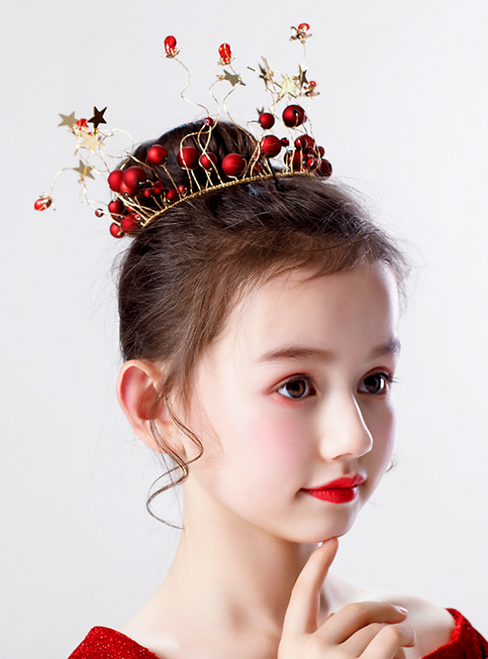 The Girl's Whole Ring Crown Headdress Wine Red