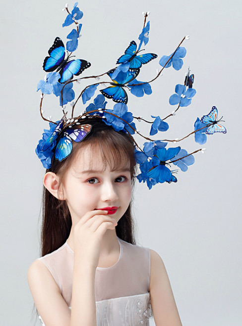 Exaggerated Headdress Blue Butterfly Hairband