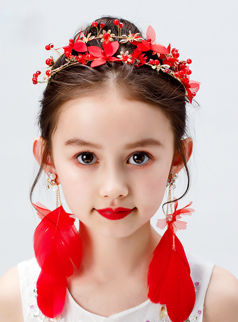 Girls' Red Feathers hairband Show Hair Accessories