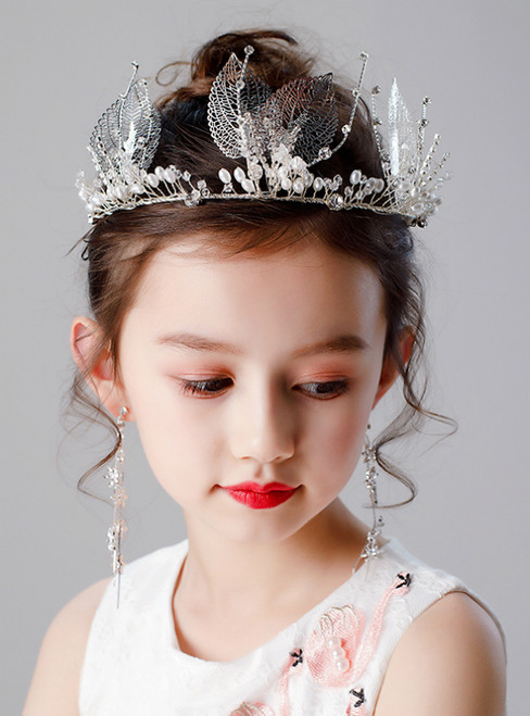 Children's Crown Leaf Beading Earring Set Accessories