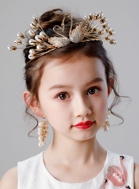 Girls Tiara Princess Crown Earrings Set Swan Crown