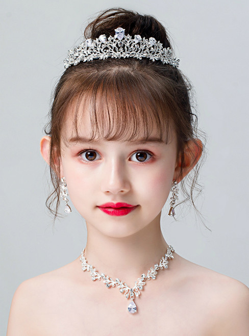 Children's Tiara Silver Zircon Crown Necklace Earring Set