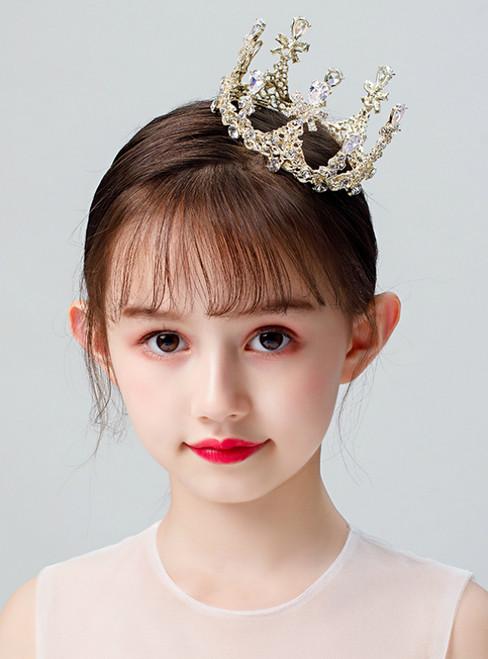 Children's Headwear Gold Zircon Crown