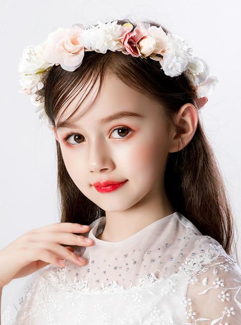 Girls' Hair With Headdress Pink Flower Wreath