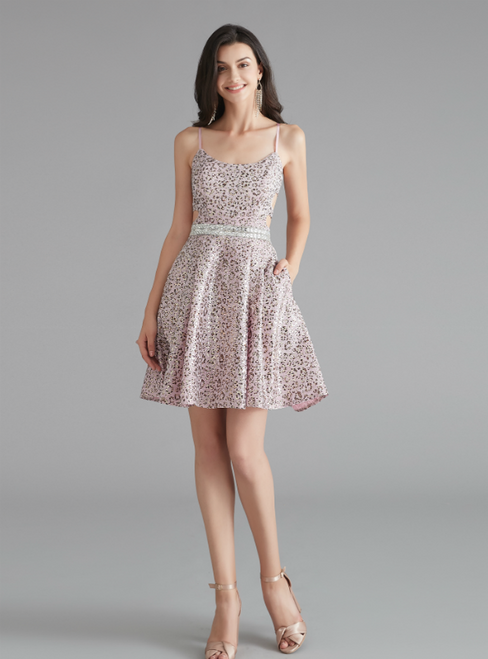 A-Line Pink Sequins Spaghetti Straps Cross Back Homecoming Dress