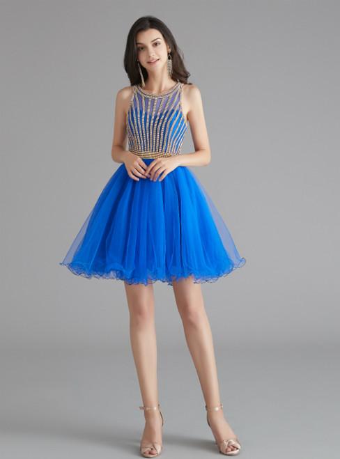 Royal Blue Tulle Beading Short Knee Length Homecoming Dress