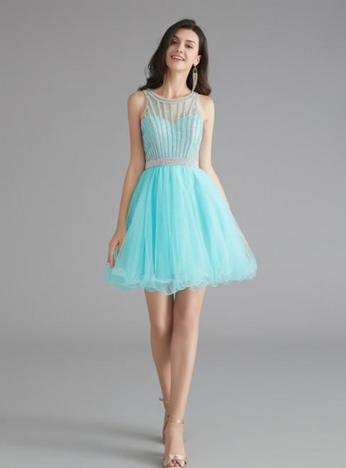 A-Line Sky Blue Tulle Beading Knee Length Homecoming Dress