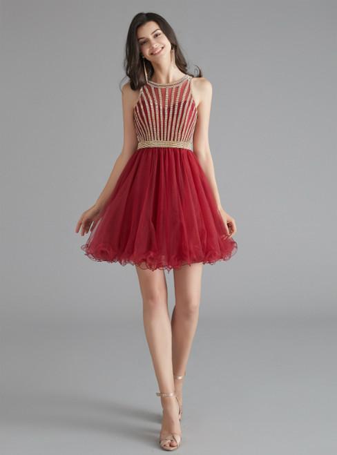 A-Line Burgundy Tulle Sleeveless Beading Homecoming Dress