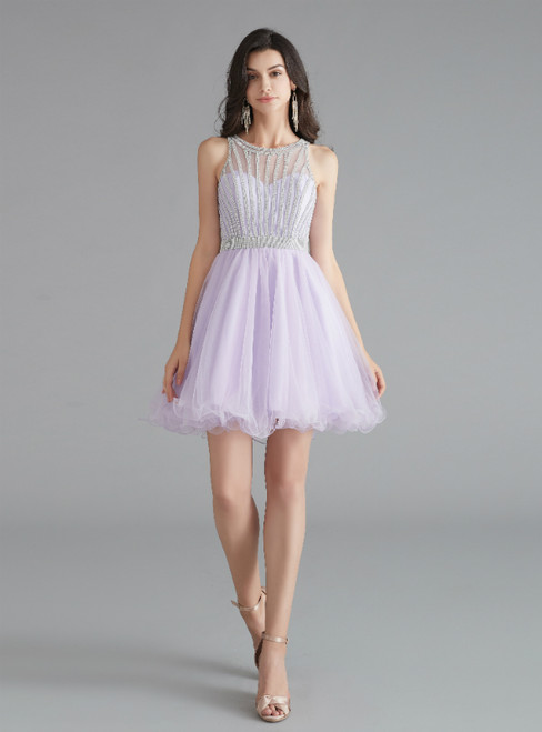 A-Line Light Purple Tulle Sleeveless Beading Homecoming Dress