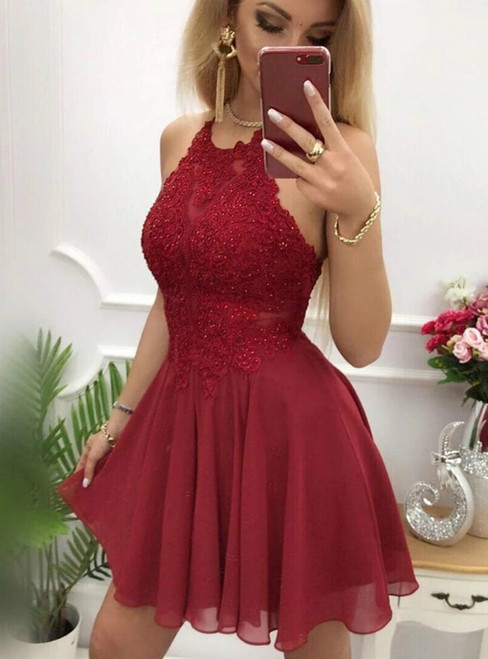 A-Line Burgundy Chiffon Halter Appliques Short Homecoming Dress
