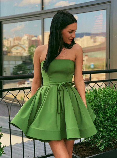Simple Green Satin Strapless Formal Homecoming Dress