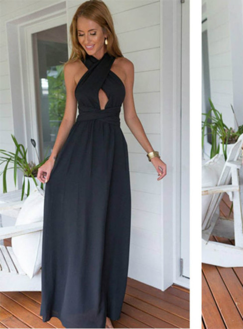 Backless Prom Dresses Chiffon Prom Dress Black Prom Gown Vintage Prom Gowns