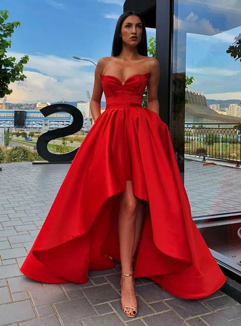 Red Satin Hi Lo Sweetheart Homecoming Dress With Pocket