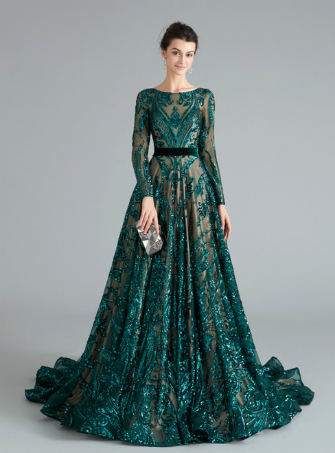 A-Line Dark Green Sequins Long Sleeve Backless Prom Dress