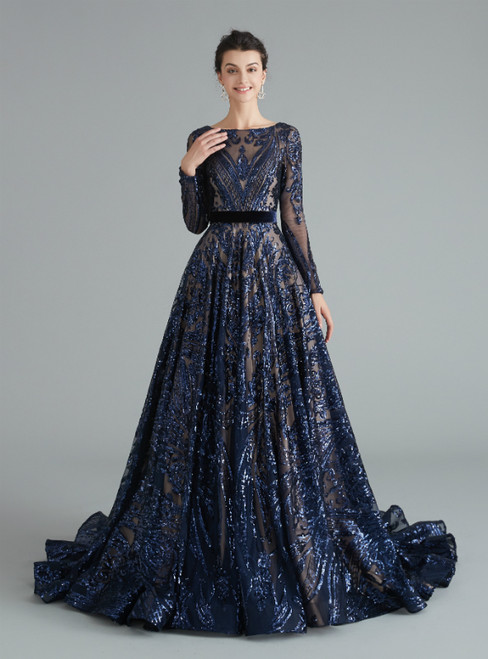 A-Line Navy Blue Sequins Long Sleeve Backless Prom Dress