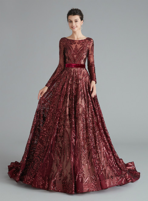 A-Line Burgundy Sequins Long Sleeve Backless Prom Dress