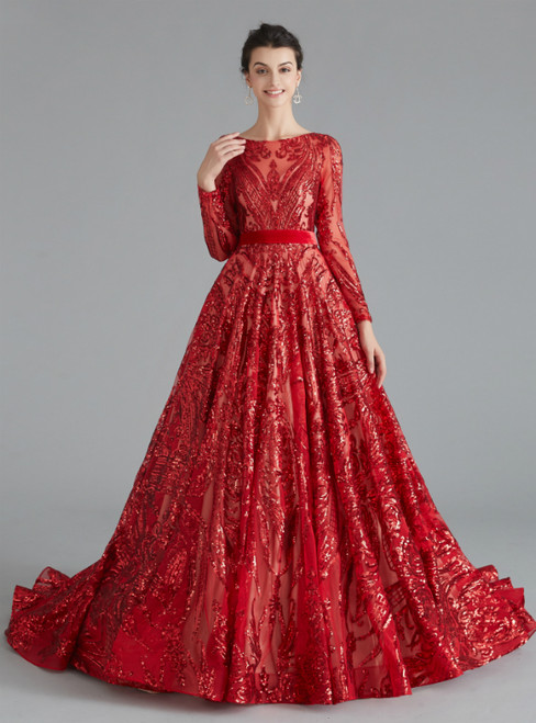 A-Line Red Sequins Long Sleeve Backless Prom Dress