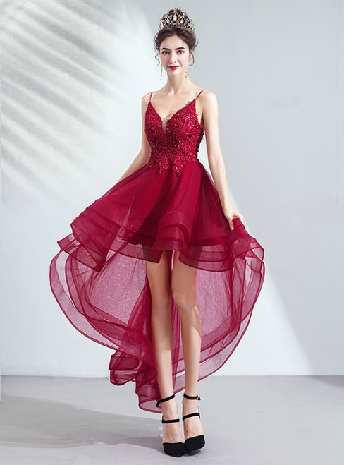 In Stock:Ship in 48 Hours Burgundy Hi Lo Tulle Appliques Homecoming Dress