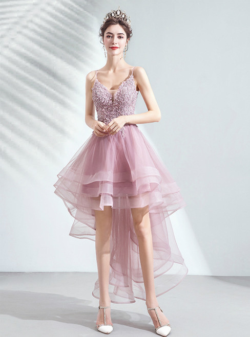 In Stock:Ship in 48 Hours Pink Hi Lo Tulle Appliques Homecoming Dress