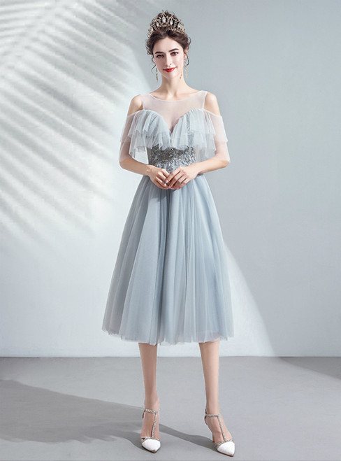 In Stock:Ship in 48 Hours Gray Tulle Appliques Cold Shoulder Homecoming Dress