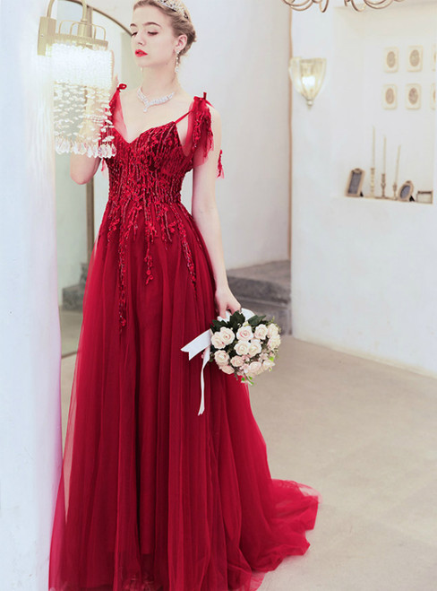 In Stock:Ship in 48 Hours Burgundy Tulle Appliques Beading Prom Dress