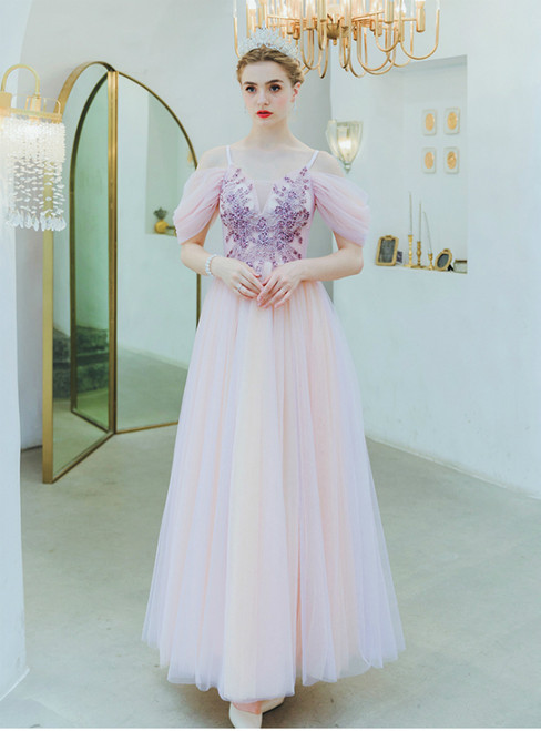 In Stock:Ship in 48 Hours Pink Spaghetti Straps Beading Prom Dress