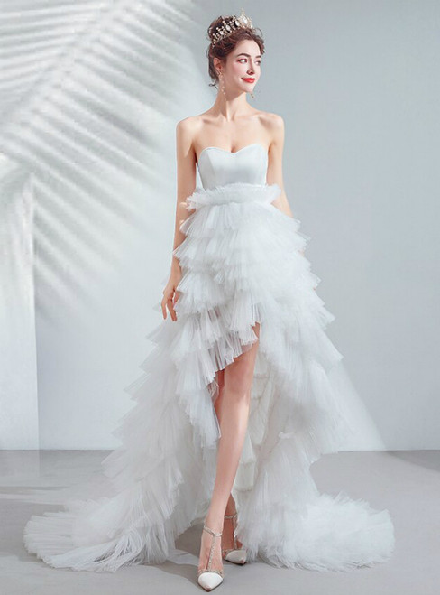 In Stock:Ship in 48 Hours White Hi Lo Tulle Sweetheart Wedding Dress