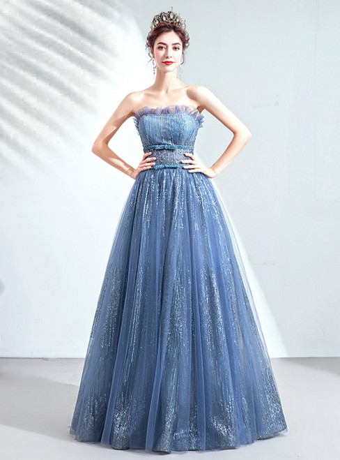 In Stock:Ship in 48 Hours Blue Tulle Sequins Strapless Prom Dress