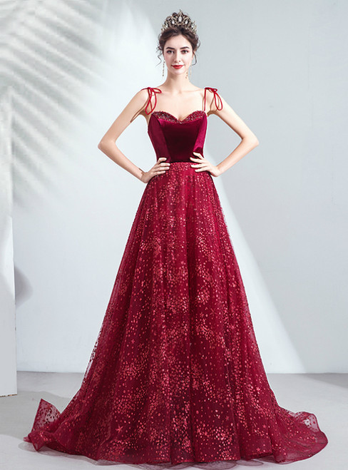 In Stock:Ship in 48 Hours Burgundy Tulle Spaghetti Straps Sequins Prom Dress