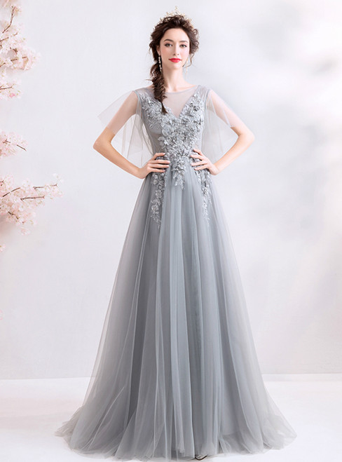 In Stock:Ship in 48 Hours Gray Tulle Appliques Beading Prom Dress