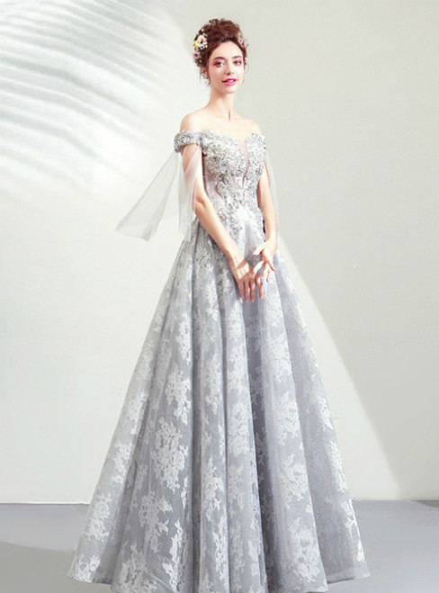 In Stock:Ship in 48 Hours Gray Tulle Lace Off the Shoulder Beading Prom Dress