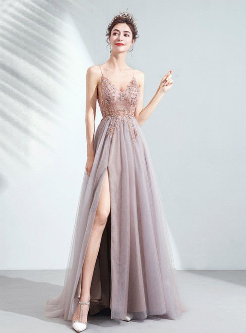 In Stock:Ship in 48 Hours Pink Tulle Spaghetti Straps Beading Prom Dress