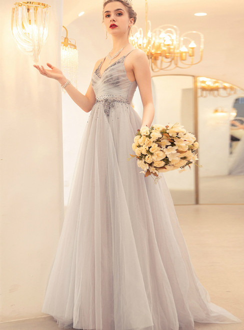 In Stock:Ship in 48 Hours Gray Blue Tulle V-neck Beading Prom Dress