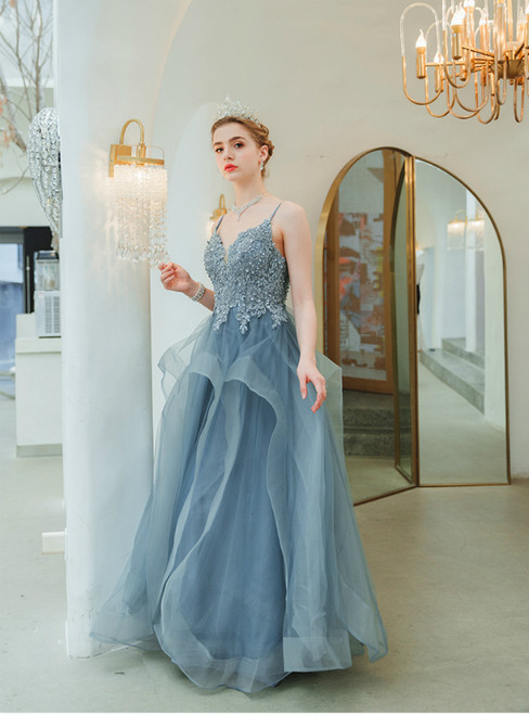 In Stock:Ship in 48 Hours Blue Tulle Appliques Beading Prom Dress