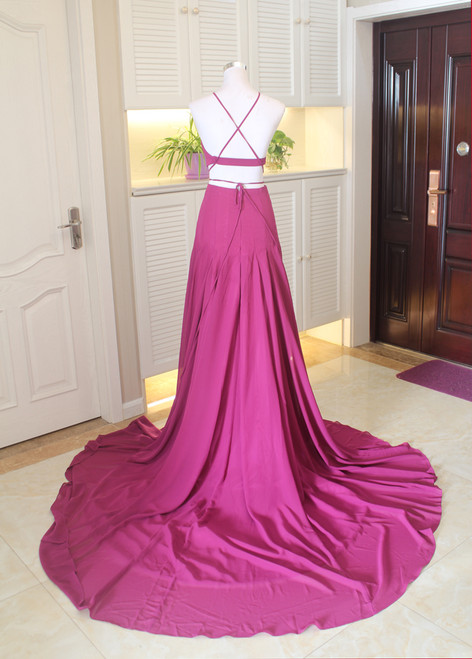 Black Halter Two Piece Side Slit Formal Gown  Prom Dress With Spaghetti Straps