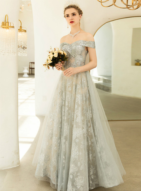 In Stock:Ship in 48 Hours Gray Tulle Seuqins Off the Shoulder Prom Dress