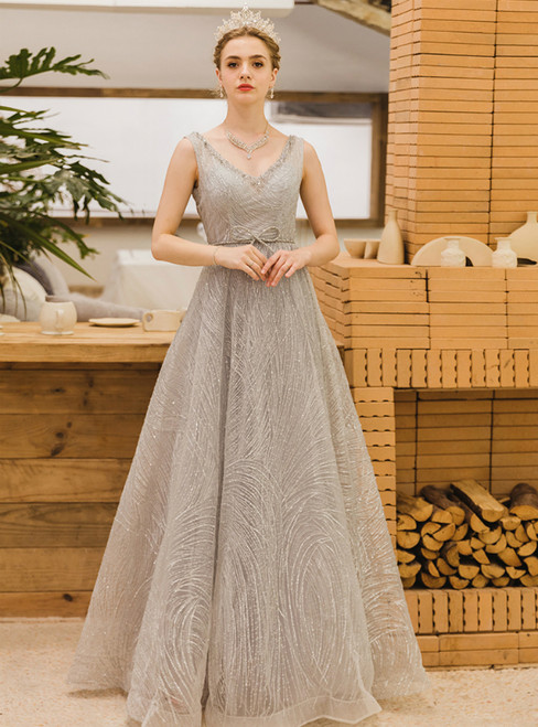 In Stock:Ship in 48 Hours Silver Gray Sequins V-neck Prom Dress