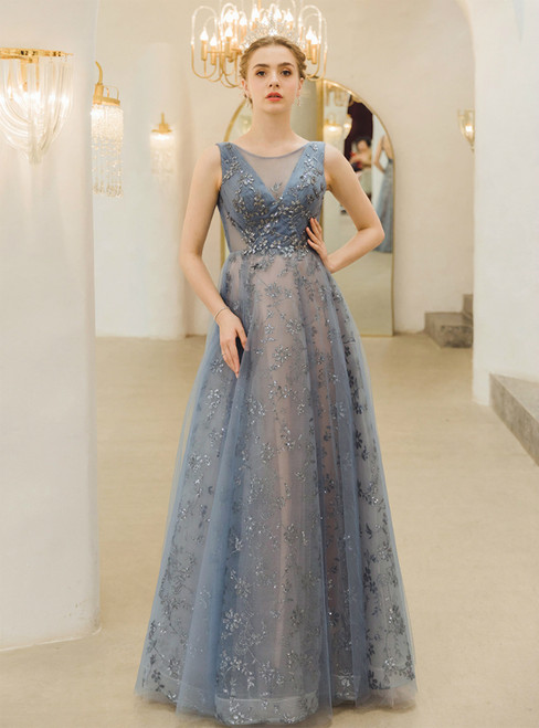 In Stock:Ship in 48 Hours Blue Tulle Backless Sequins Pleats Prom Dress