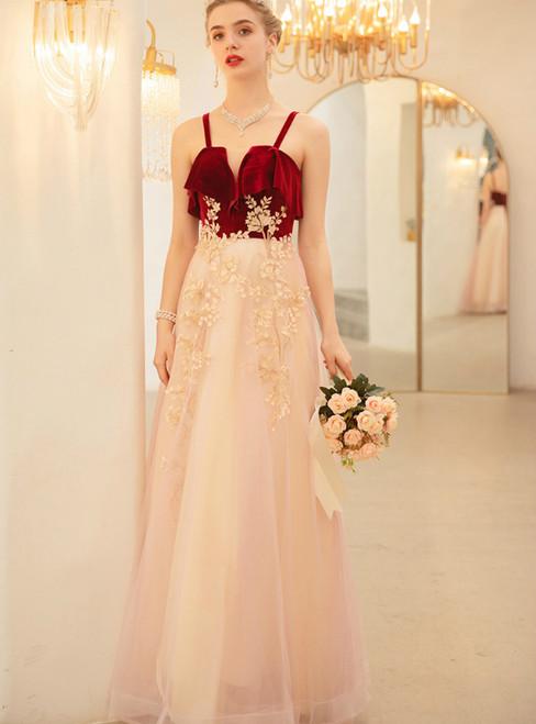 In Stock:Ship in 48 Hours Champagne Tulle Burgundy Velvet Appliques Prom Dress