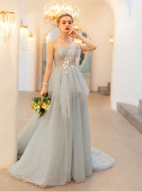 In Stock:Ship in 48 Hours Gray Sppaghetti Straps Tulle Appliques Prom Dress