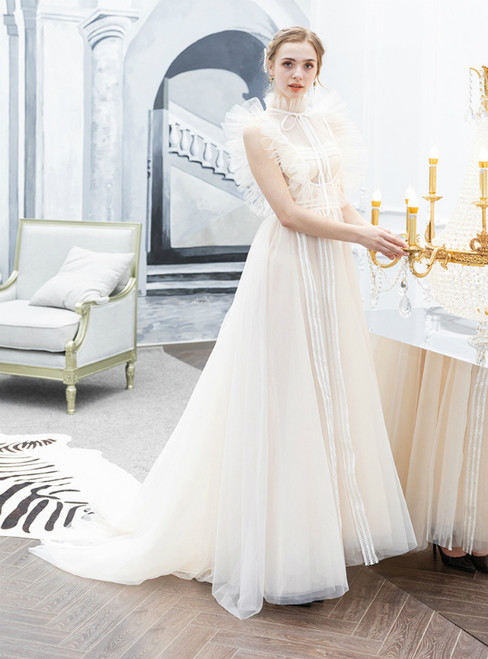 In Stock:Ship in 48 Hours Ivory White Tulle High Neck Sexy Illusion Prom Dress