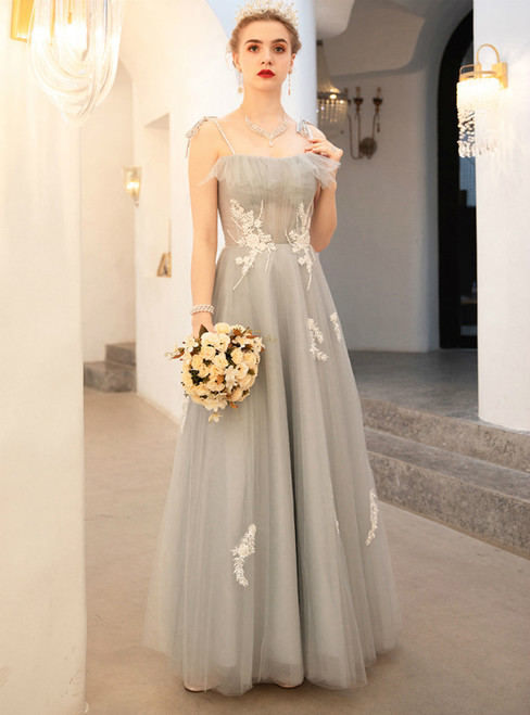 In Stock:Ship in 48 Hours Gray Spaghetti Straps Tulle Appliques Prom Dress